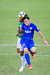 Kitchee Defender Kim Bongjin (R) fights for the ball with Chun Lok Tan of Wofoo Tai Po (L) during the Hong Kong FA Cup final between Kitchee and Wofoo Tai Po at the Hong Kong Stadium on May 26, 2018 in Hong Kong, Hong Kong. Photo by Marcio Rodrigo Machado / Power Sport Images