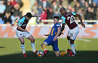 Shrewsbury Town's Mat Sadler gets in between West Ham United's Andre Ayew and Josh Cullen<br /> <br /> Photographer Rob Newell/CameraSport<br /> <br /> The Emirates FA Cup Third Round - Shrewsbury Town v West Ham United - Sunday 7th January 2018 - New Meadow - Shrewsbury<br />  <br /> World Copyright &copy; 2018 CameraSport. All rights reserved. 43 Linden Ave. Countesthorpe. Leicester. England. LE8 5PG - Tel: +44 (0) 116 277 4147 - admin@camerasport.com - www.camerasport.com