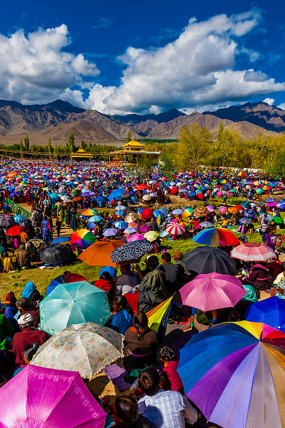 His Holiness the 14th Dalai Lama gives a teaching to a crowd of 175,000 people at Choglamsar, Ladakh, Jammu and Kashmir State, India.