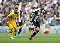 Calcio, Serie A: Juventus vs Sampdoria. Torino, Juventus Stadium, 14 maggio 2016. <br /> Juventus' Giorgio Chiellini, right, is chased by Sampdoria's Fabio Quagliarella during the Italian Serie A football match between Juventus and Sampdoria at Turin's Juventus Stadium, 14 May 2016.<br /> UPDATE IMAGES PRESS/Isabella Bonotto