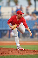 Palm Beach Cardinals relief pitcher Ian McKinney (22) delivers a pitch during a game against the Charlotte Stone Crabs on April 21, 2018 at Charlotte Sports Park in Port Charlotte, Florida.  Charlotte defeated Palm Beach 5-2.  (Mike Janes/Four Seam Images)