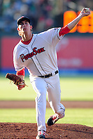 Henry Owens (33) of the Pawtucket Red Sox delivers a warm up pitch during the game versus the Louisville Bats at McCoy Stadium on May 30, 2015 in Pawtucket, Rhode Island.<br />