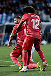 Real Madrid's Karim Benzema (L) and Marcelo Vieira (R) during La Liga match between CD Leganes and Real Madrid at Butarque Stadium in Leganes, Spain. April 15, 2019. (ALTERPHOTOS/A. Perez Meca)