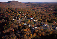 Aerial view of village with church, autumn morning, Princeton, MA with Mt. Wachusett