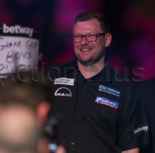 31.03.2016. The Motorpoint Arena, Cardiff.  Betway PDC Premier League Darts Judgement Night. James Wade during the walk on