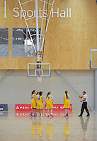 Otago prepare for tip-off in the match between Palmerston North and Otago girls during the national under-15 basketball championship at the ASB Sports Centre, Kilbirnie, Wellington, New Zealand on Thursday, 25 July 2013. Photo: Dave Lintott / lintottphoto.co.nz