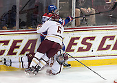 Michael Sit (BC - 18), Steven Santini (BC - 6), Michael Colantone (UML - 24) - The Boston College Eagles defeated the visiting University of Massachusetts Lowell River Hawks 3-0 on Friday, February 21, 2014, at Kelley Rink in Conte Forum in Chestnut Hill, Massachusetts.