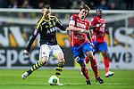 Solna 2013-09-30 Fotboll Allsvenskan AIK - &Ouml;sters IF :  <br /> AIK 6 Alexander Milosevic  i kamp om bollen med &Ouml;ster 25 Johan Andersson <br /> (Foto: Kenta J&ouml;nsson) Nyckelord: