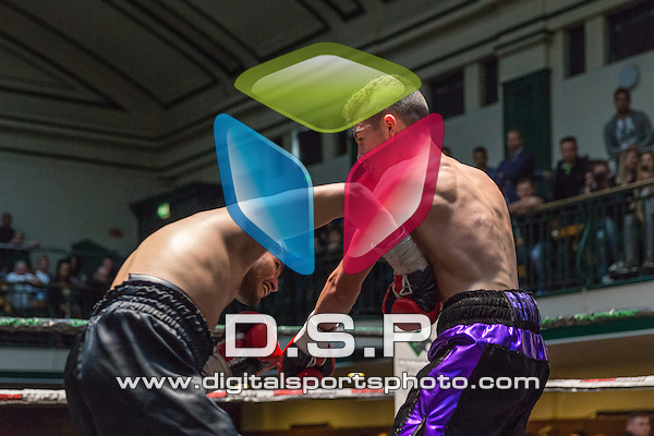 Lucas Ballingall VS Qasin Hussain - Lightweight Contest. Photo by: Stephen Smith<br /> <br /> Goodwin Boxing: New Era - Saturday 5th Sept 2015.<br /> <br /> York Hall, Bethnal Green, London, United Kingdom.