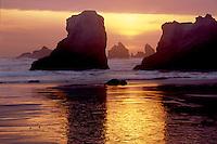 Seastacks at sunset<br /> Bandon Beach<br /> Bandon, Coos County<br /> Oregon