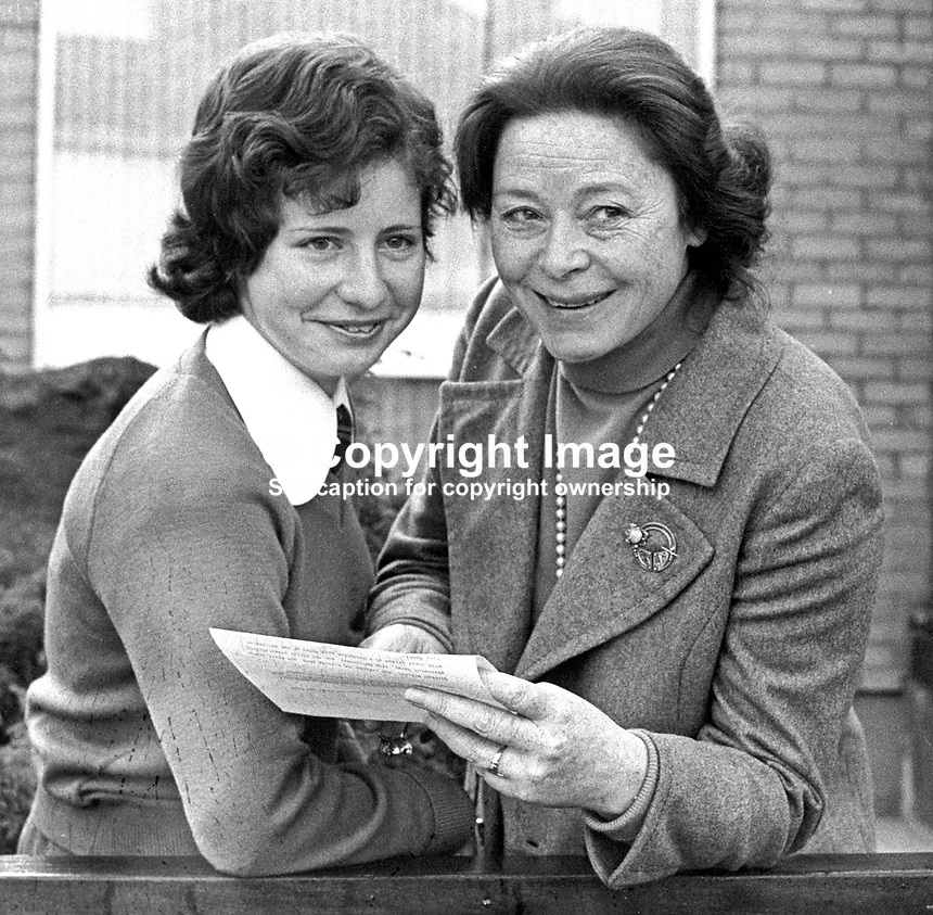 Peace Point Poetry Prize - Winner, Sarah Barbour, receives her prize from Belfast-born actress, Siobhan McKenna, at a ceremony in Belfast, N Ireland, UK, 17th December 1973. 197312170767<br /> <br /> Copyright Image from Victor Patterson, 54 Dorchester Park, <br /> Belfast, UK, BT9 6RJ<br /> <br /> t1: +44 28 9066 1296 (from Rep of Ireland 048 9066 1296)<br /> t2: +44 28 9002 2446 (from Rep of Ireland 048 9002 2446)<br /> m: +44 7802 353836<br /> <br /> e1: victorpatterson@me.com<br /> e2: victorpatterson@gmail.com<br /> <br /> www.victorpatterson.com<br /> <br /> Please see my Terms and Conditions of Use at www.victorpatterson.com. It is IMPORTANT that you familiarise yourself with them.<br /> <br /> Images used on the Internet must be visibly watermarked i.e. &copy; Victor Patterson within the body of the image and copyright metadata must not be deleted. Images used on the Internet have a size restriction of 4kbs and will be chargeable at current NUJ rates unless agreed otherwise.<br /> <br /> This image is only available for the use of the download recipient i.e. television station, newspaper, magazine, book publisher, etc, and must not be passed on to any third party. It is also downloaded on condition that each and every usage is notified within 7 days to victorpatterson@me.com<br /> <br /> The right of Victor Patterson to be identified as the author is asserted in accordance with The Copyright Designs And Patents Act (1988).