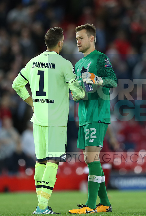 Simon Mignolet of Liverpool and Oliver Baumann of Hoffenheim during the Champions League playoff round at the Anfield Stadium, Liverpool. Picture date 23rd August 2017. Picture credit should read: Lynne Cameron/Sportimage