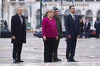 Pictured: German Chancellor Angela Merkel lays a wreath at the Monument to the Unknown Soldier outside the Greek Parliament in Syntagma Square, Athens, Greece.<br /> Re: Official visit of German Chancellor Angela Merkel  to Athens, Greece.
