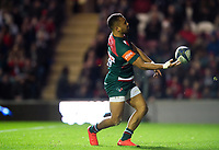 Telusa Veainu of Leicester Tigers celebrates his second try. European Rugby Champions Cup match, between Leicester Tigers and Castres Olympique on October 21, 2017 at Welford Road in Leicester, England. Photo by: Patrick Khachfe / JMP