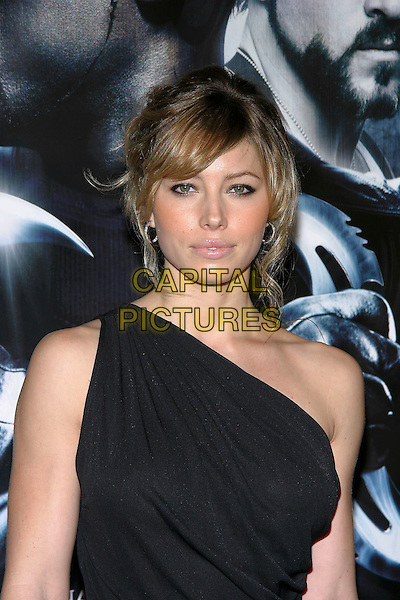 "JESSICA BIEL.L.A.Premiere of ""Blade: Trinity"" held at the Graman's Chinese Theatre, Hollywood, California, USA,. 7th December 2004..portrait headshot black one shoulder dress .**UK SALES ONLY**.Ref: ADM.www.capitalpictures.com.sales@capitalpictures.com.©J.Wong/AdMedia/Capital Pictures ."