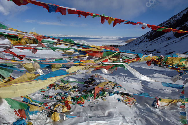 Lake Namsto seen from the 5,190 metre pass, strewn with prayer flags, from which it is approached. November 18, 2006