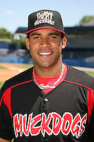 June 16, 2009:  Ryde Rodriguez of the Batavia Muckdogs poses for a head shot before the teams practice at Dwyer Stadium in Batavia, NY.  The Batavia Muckdogs are the NY-Penn League Single-A affiliate of the St. Louis Cardinals.  Photo by:  Mike Janes/Four Seam Images