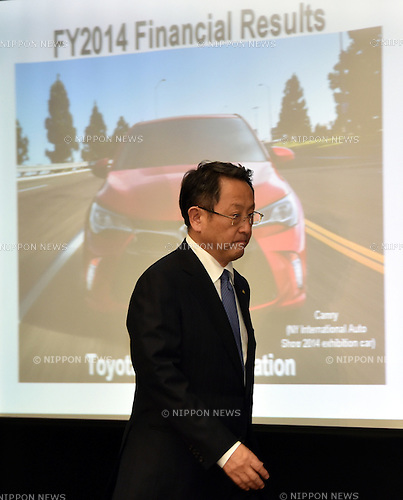 May 8, 2014, Tokyo, Japan - President Akio Toyoda of Toyota Motor Corp., arrives for briefing the media on the world's largest carmaker's profit forecast during a news conference at its head office in Tokyo on Thursday, May 8, 2014. Toyota forecast its profit will fall from last year's record as demand in Japan slumps. The automaker reported a January-March profit of 297 billion yen , down from 313.9 billion yen a year earlier, primarily due to a weaker yen and extra costs, including research and development expenses.  (Photo by Natsuki Sakai/AFLO)