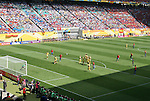 14 June 2006: A wide view of the the stadium and crowd as Spain scores their second goal as the ball deflects off a Ukraine player on a free kick. Spain played Ukraine at Zentralstadion in Leipzig, Germany in match 15, a Group H first round game, of the 2006 FIFA World Cup.