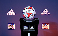 An adidas soccer ball sits on it's podium during the MLS SuperDraft at the Pennsylvania Convention Center in Philadelphia, PA, on January 16, 2014.