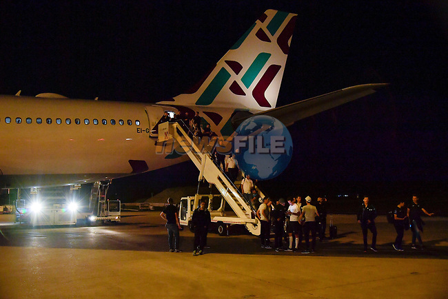 Riders and staff arrive at Rome airport after Stage 20 of the 2018 Giro d'Italia,  Italy. 26th May 2018.<br /> Picture: LaPresse/Marco Alpozzi | Cyclefile<br /> <br /> <br /> All photos usage must carry mandatory copyright credit (© Cyclefile | LaPresse/Marco Alpozzi)