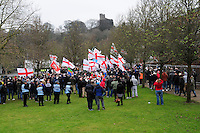 English Defence League (EDL) demonstration<br /> called in protest to the proposed building of a new mosque in Dudley.<br /> Supporters of the English Defence League arrive at the assembly point for their rally in the shadow of Dudley castle.