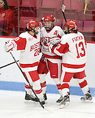 Louise Warren (BU - 28), Marie-Philip Poulin (BU - 29), Kaleigh Fratkin (BU - 13) - The Boston University Terriers defeated the Harvard University Crimson 5-2 on Monday, January 31, 2012, in the opening round of the 2012 Women's Beanpot at Walter Brown Arena in Boston, Massachusetts.