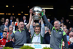 17-1-2017: Tommy Griffin, Peter Keane and James Foley lift the Tommy Markem Cup  after victory in the All-Ireland Football final at Croke Park on Sunday.<br /> Photo: Don MacMonagle