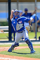 Toronto Blue Jays catcher Jorge Saez #30 during a minor league spring training game against the Pittsburgh Pirates at Englebert Minor League Complex on March 16, 2013 in Dunedin, Florida.  (Mike Janes/Four Seam Images)