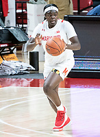 COLLEGE PARK, MD - DECEMBER 8: Ashley Owusu #15 of Maryland starts an attack during a game between Loyola University and University of Maryland at Xfinity Center on December 8, 2019 in College Park, Maryland.
