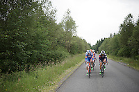 former teammates Frederik Veuchelen (BEL/Wanty-Groupe Gobert) &amp; Thomas Degand (BEL/IAM) leading the breakaway group over the Hautes Fagnes Plateau<br /> <br /> stage 4: Hotel Verviers - La Gileppe (187km)<br /> 29th Ster ZLM Tour 2015