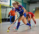 GER - Mannheim, Germany, December 19: During the 1. Bundesliga Sued Damen indoor hockey match between Mannheimer HC (blue) and Nuernberger HTC (red) on December 19, 2015 at Irma-Roechling-Halle in Mannheim, Germany. (Photo by Dirk Markgraf / www.265-images.com) *** Local caption *** Antonia Hering #34 of Mannheimer HC