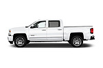 Car Driver side profile view of a 2017 Chevrolet Silverado-1500 High-Country-Crew 4 Door Pickup Side View