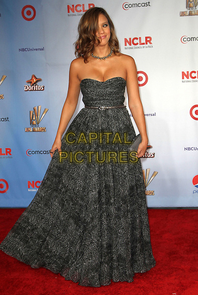 Jessica Alba.2011 NCLR ALMA Awards Held at The Santa Monica Civic Auditorium, Santa Monica, California, USA,.10th September 2011 .full length strapless grey gray black print dress belt long maxi  clutch bag .CAP/ADM/KB.©Kevan Brooks/AdMedia/Capital Pictures.