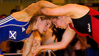 22 MAY 2010 - BIRMINGHAM, GBR - Kathryn Marsh (blue) v Louisa Salmon (red) - 2010 English Senior Wrestling Championships .(PHOTO (C) NIGEL FARROW)