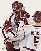 Kevin Hayes (BC - 12), Johnny Gaudreau (BC - 13), Michael Matheson (BC - 5) - The Boston College Eagles defeated the visiting St. Francis Xavier University X-Men 8-2 in an exhibition game on Sunday, October 6, 2013, at Kelley Rink in Conte Forum in Chestnut Hill, Massachusetts.