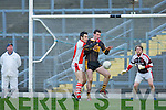 Tom O'Sullivan Rathmore breaks the ball away from Currow full forward Daniel O'Shea in the dying minutes of their O'Donoghue cup semi final in Fitzgerald Stadium on Sunday