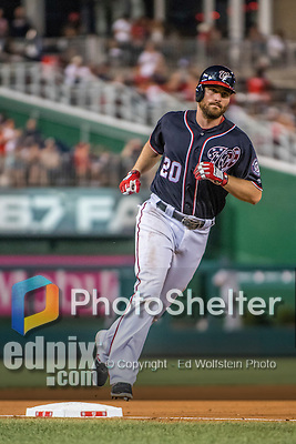 22 July 2016: Washington Nationals infielder Daniel Murphy rounds third after hitting a solo home run in the 8th inning against the San Diego Padres at Nationals Park in Washington, DC. The Padres defeated the Nationals 5-3 to take the first game of their 3-game, weekend series. Mandatory Credit: Ed Wolfstein Photo *** RAW (NEF) Image File Available ***
