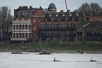 London. United Kingdom,  Both crews pass the &quot;White Hart&quot; during the 2017. Oxford University, Annual Trial Eights, raced over the Championship Course, Putney to Mortlake. River Thames, <br /> <br /> Wednesday  06/12/2017<br /> <br /> [Mandatory Credit:Peter SPURRIER Intersport Images]<br /> <br /> OUBC Crew Names. <br /> STABLE White Shirts.<br /> Bow. Jonathan Olandi<br /> 2. Charles Buchanan<br /> 3. Will Cahill<br /> 4. Alexander Wythe<br /> 5. William Geffen<br /> 6. Anders Weiss<br /> 7. Iain Mandale<br /> Stroke. Vassilis Ragoussis<br /> Cox. Zachary Thomas Johnson<br /> <br /> STRONG Black Shirts<br /> Bow. Luke Robinson<br /> 2. Angus Forbes<br /> 3. Nicholas Elkington<br /> 4. Benedict Aldous<br /> 5. Tobias Schroder<br /> 6. Joshua Bugajski<br /> 7. Claas Mertens<br /> Stroke. Felix Drinkall<br /> Cox. Anna Carbery
