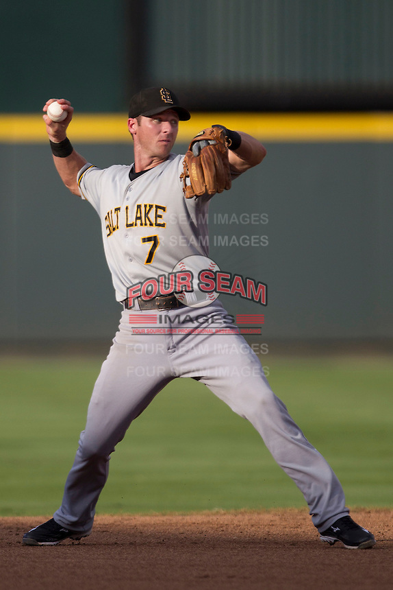 Salt Lake Bees shortstop Andrew Romine (7) makes a throw to first base during the Pacific Coast League baseball game against the Round Rock Express on August 10, 2013 at the Dell Diamond in Round Rock, Texas. Round Rock defeated Salt Lake 9-6. (Andrew Woolley/Four Seam Images)