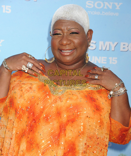 "Luenell Campbell.The Los Angeles premiere of ""That's My Boy"" at Regency Village Theatre in Westwood, California, USA..June 4th, 2012 .half length yellow orange dress hands arms rings nail varnish polish .CAP/ROT/TM.©Tony Michaels/Roth Stock/Capital Pictures"