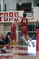 STANFORD, CA - December 30, 2017: Russell Dervay, Kyler Presho at Burnham Pavilion. The Stanford Cardinal defeated the Calgary Dinos 3-1.