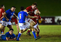 Wales U20's Rhys Carre surges forward<br /> <br /> Photographer Richard Martin-Roberts/CameraSport<br /> <br /> Six Nations U20 Championship Round 4 - Wales U20s v Italy U20s - Friday 9th March 2018 - Parc Eirias, Colwyn Bay, North Wales<br /> <br /> World Copyright &not;&copy; 2018 CameraSport. All rights reserved. 43 Linden Ave. Countesthorpe. Leicester. England. LE8 5PG - Tel: +44 (0) 116 277 4147 - admin@camerasport.com - www.camerasport.com