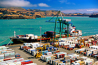 New Zealand, Christchurch, Lyttelton Harbour. Container Ship being loaded at dockside