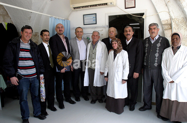 Director of the Arab Center, Adnan Arafa, and  Director General of Palestinian Telecommunication Group, Paltel, inaugurate a section of the Medical Center in Al-Aqsa Mosque compound in Jerusalem, March 07, 2012. Photo by Mahfouz Abu Turk