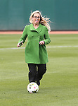 Reno Mayor Hillary Schieve gets ready for a ceremonial goal kick at a ceremony announcing the addition of a United Soccer League franchise in Reno, Nev., on Wednesday, Sept. 16, 2015 at the Aces Ballpark. <br /> Photo by Cathleen Allison
