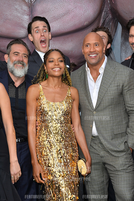 Jeffrey Dean Morgan, Naomie Harris, Jason Liles &amp; Dwayne Johnson at the premiere for &quot;Rampage&quot; at the Microsoft Theatre, Los Angeles, USA 04 April 2018<br /> Picture: Paul Smith/Featureflash/SilverHub 0208 004 5359 sales@silverhubmedia.com