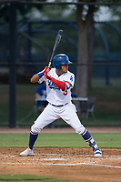 AZL Dodgers center fielder Ismael Alcantara (5) at bat during an Arizona League game against the AZL White Sox at Camelback Ranch on July 3, 2018 in Glendale, Arizona. The AZL Dodgers defeated the AZL White Sox by a score of 10-5. (Zachary Lucy/Four Seam Images)
