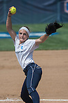 30 MAY 2016: Carrie Fix (11) of Messiah College delivers a pitch during the Division III Women's Softball Championship is held at the James I Moyer Sports Complex in Salem, VA.  University of Texas-Tyler defeated Messiah College 7-0 for the national title. Don Petersen/NCAA Photos