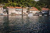 MONTENEGRO, Bay of Kotor, Coastal town and sailboat on the Bay of Kotor, Ben M Thomas
